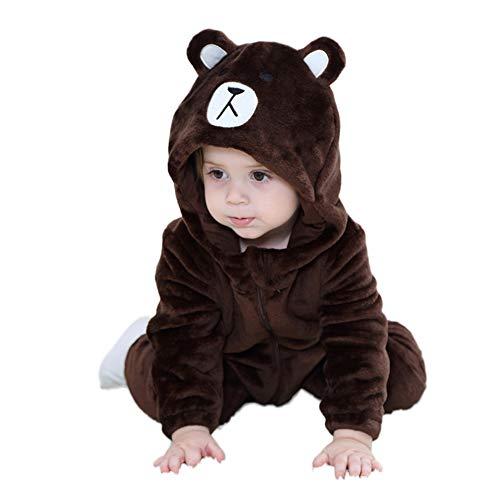 LSERVER Mameluco de Cosplay para Bebés Recién Nacidos Ropa de Arrastre Disfraz Unisexo de Franela con Capucha Estilo Animales, Oso Brown, 70 (Altura Recomendada:59-66cm)