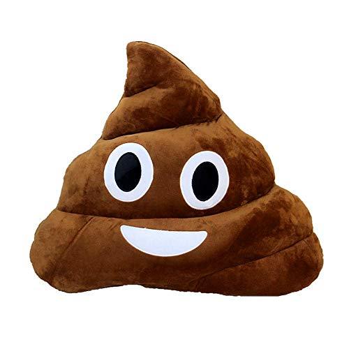 Levinis Cute Poop Emoji Throw Pillow- Soft Plush Emoji Emoticon Cushion Poop Shape Pillow, 14'' x 12'' ×3.5''