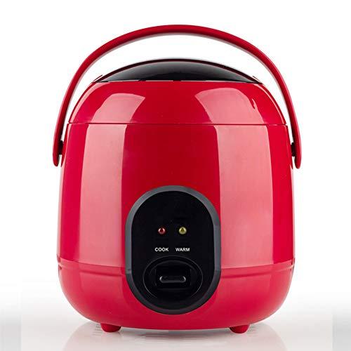 YIDPU Mini Reiskocher,antihaftpfanne Einfache EIN Knopf Bedienung Kompakter Körper, Geeignet Für 1-2 Personen Suppe Gedünsteter Reis Heißen Topf Kochen 1,2 L 200 W,Rot