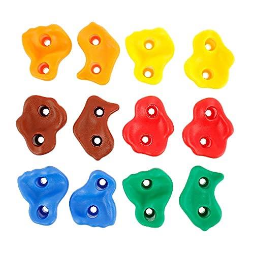 Tagge Klettergriffe für Kinder, mehrfarbig, Polyresin, Klettersteine, Felsen für Garten, Spielplatz mit Befestigungen (12 Stück ohne Schrauben)