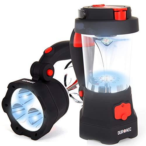 Duronic Hurricane Farol de Camping Recargable por Dinamo y USB con Linterna LED, Farol de Mano, Lámpara de 10 LED, Señal de Emergencia Roja Intermitente, Linterna de 3 LED