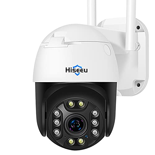 【5X Optical Zoom,2K】 Hiseeu Pan/Tilt/Zoom Security Camera,3 Megapixels Outdoor Wireless Surveillance Camera,Floodlights Full Color Night Vision,Two Way Audio,IP66 Waterproof, Motion Detection