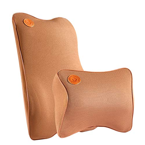 GINVF Car Pillow Lumbar Pad, Memory Foam Back Cushion Lumbar/Neck Support, Breathable Cervical Pillows for Driving, Travel, Relieve Neck/Head/Shoulder Pain, Washable Cover (Color : Brown)