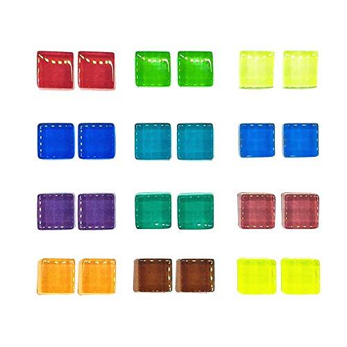 Keilafu Büromagnete, Knopfmagnete, 24 Stück Würfel Kühlschrank Starke Magnete Dekoration, 15mm bunte Mosaik Whiteboard Magnete für Küche, Büro