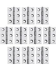 DMGARDEN 10 stuks Verdikte RVS Kabinet Scharnier, Vouwbare Butt Scharnieren met Schroeven, Meubelhardware Deur Scharnier (65x36x1mm)