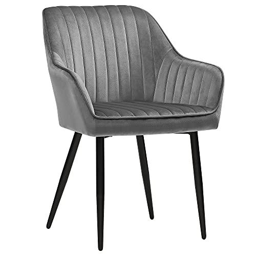 SONGMICS Esszimmerstühle, 2er Set, Sessel, Polsterstühle mit Armlehnen, Metallbeine, Samtbezug, Sitzbreite 49 cm, max. 110 kg, für Arbeitszimmer, Wohnzimmer,...