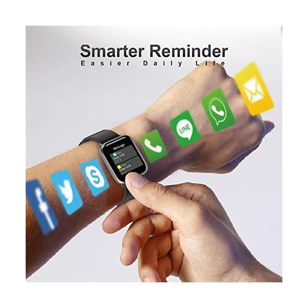 MOTOK - Reloj inteligente inteligente para hombre y mujer, 5 ATM, resistente al agua, frecuencia cardiaca y oxígeno… 3