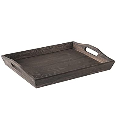 MyGift Rustic Coffee Brown 16-inch Wooden Breakfast Serving Tray with Oval Cutout Handles