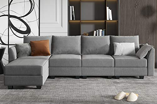 HONBAY Grey Sectional Couch with Reversible Chaise, Modern L-Shape Sofa 4-Seat Couch Modular Sectional Sofa for Apartment