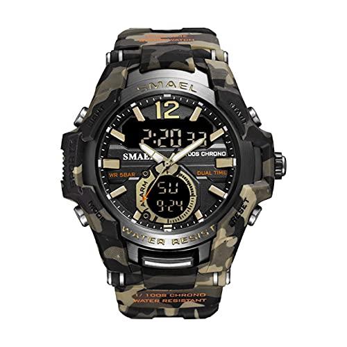 JTTM Hombres Relojes Analógico De Doble Pantalla De Cuarzo Reloj Deportivo A Prueba De Agua 50M Reloj De Pulsera Militar Reloj Digital Militar Ejército Relojes,Camouflage Khaki