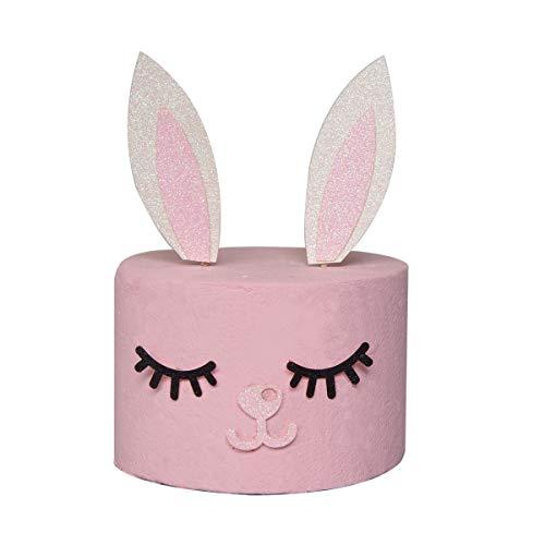 Set di topper per torta con orecchie di coniglio, orecchie di coniglio, ciglia e naso, per ragazze e bambini, decorazione per torta di Pasqua