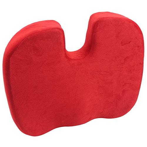 EMFGJ 45 x 36 x 7 cojín de espuma viscoelástica cómodo cojín para silla de escritorio, cojín de asiento de coche, silla de ordenador, silla de ruedas, color rojo