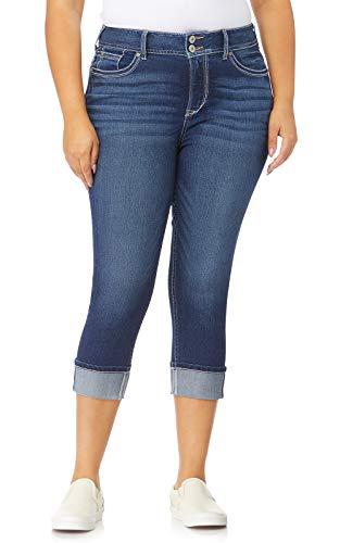WallFlower Plus-Size Insta Stretch Luscious Curvy Cuffed Crop Jeans in Chrystie, 24 Plus