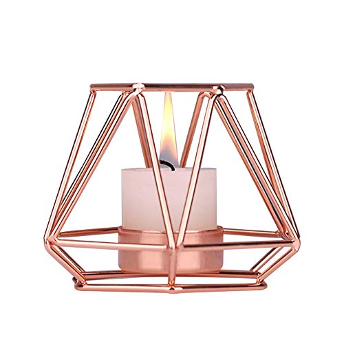 JTOOYS Geometric Candle Holder, Nordic Style Metal Candleholder Rose Gold Wrought iron Candlestick Romantic Aroma Candle Holder Home Decoration for Table Decoration, Wedding, Party, Bedroom