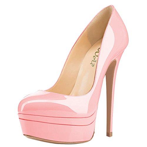 AOOAR Damen Plateau Stiletto Abendschuhe Pink Lackleder Pumps EU 37