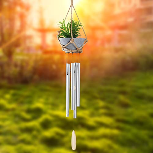 Epartswide Hanging Plants,33 Inch Wind Chimes, Unique Artificial Succulent Plants Personalized Wind Chimes Beautiful Gift for Garden Patio Balcony and Home Decor(Silver)