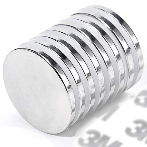Fridge,Scientific 1.26 D x 1//8 H FINDMAG N52 Neodymium Magnets 12 Pack Strong Magnets Rare Earth Magnets with Double-Sided Adhesive for DIY
