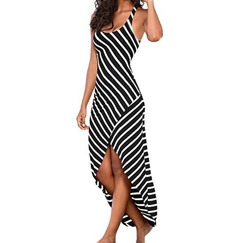 Lalaluka Vestido largo de verano para mujer, con estampado de rayas, cuello redondo, para la playa, vestido de cctel, estilo bohemio, tnica Negro S
