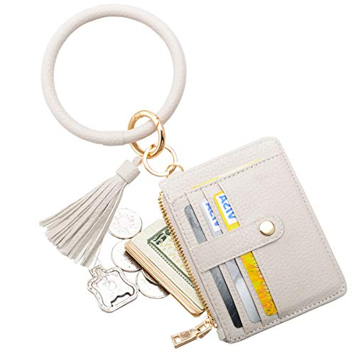 COOLANS Wristlet Bracelet Keychain Pocket Credit Card Holder Leather Purse Tassel Keychain Bangle Key Ring for Women