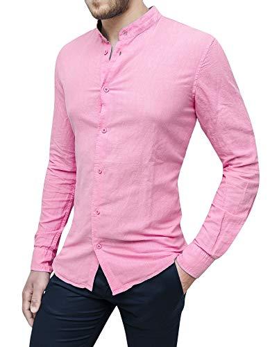 Evoga Camicia di Lino Uomo Sartoriale Primavera Estate Casual Elegante (XXL, Rosa)