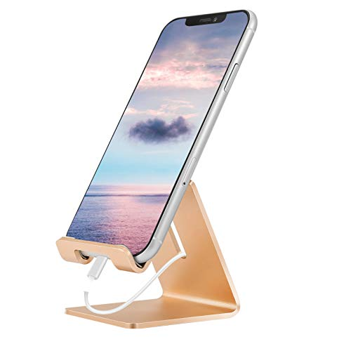 Desk Cell Phone Stand Phone Dock Cradle Holder Stand Compatible with Switch, All Android Smartphone, for iPhone 11 Pro Xs Xs Max Xr X 8 7 6 6s Plus 5 5s 5c Charging, Accessories Desk (Gold)