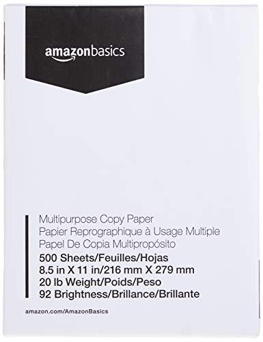 AmazonBasics Multipurpose Copy Printer Paper - White, 8.5 x 11 Inches, 1 Ream (500 Sheets)