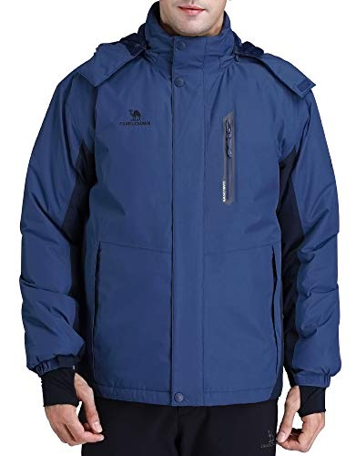 CAMEL CROWN Men's Mountain Snow Waterproof Ski Jacket Detachable Hood Windproof Fleece Parka Rain Jacket Winter Coat