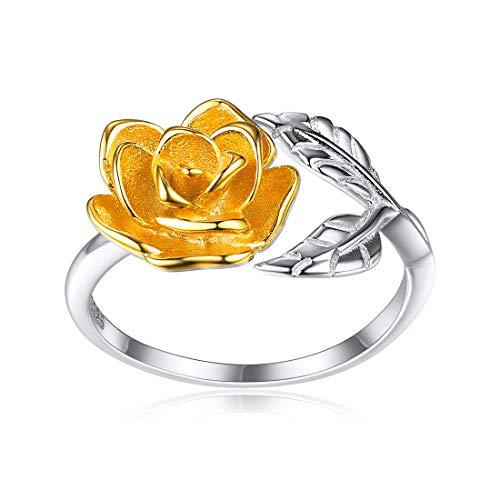 Bague Rose Fleur Or - Bague Ouverte Réglable Femme Argent 925 - Bijoux Fantaisie Anneau pour Femme