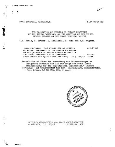 The evaluation of studies of flight personnel of the German Lufthansa on...