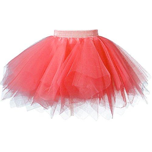 FEOYA Niñas Falda de Tul Tutú Clásica de Ballet para Disfraz Halloween Fiesta, Color Rojo sandía
