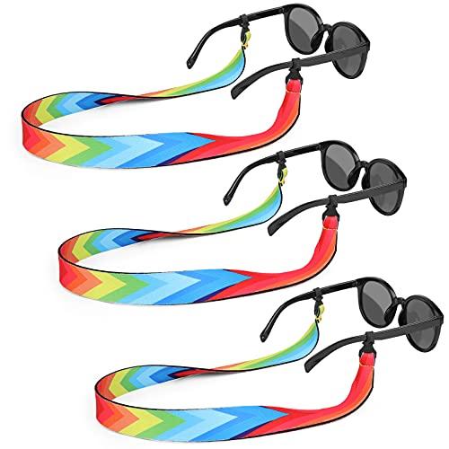 Hifot Floating Sunglasses Strap 3 Pack, Adjustable Floating Eyewear Retainer, Neoprene Eyeglasses Strap Cord Lanyard for Women Men