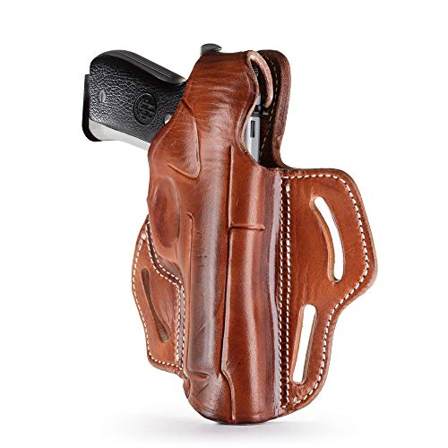 "1791 - Beretta 92fs Thumb Break Holster - Right Handed OWB Leather Gun Holster - Fits Beretta 92FS/ HK VP40, P2000/ Ruger P95/ Sig P220, P226/ CZ 75/ Walther P99, PPQ/ 1911 5"" w Rail - Brown"