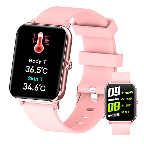 BNMY Smartwatch Hombre Mujer Reloj Inteligente Medición De Temperatura Corporal, Bluetooth Call Pulsómetros, Monitoreo De Calorías/Sueño/Presión Arterial, Pulsera Actividad Inteligente,Rosado