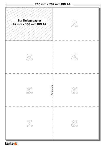 80 x Karteo® Einsteckkarte   Papiereinlagen   Einleger 160g/m²   weiß hochwertiges perforiertes Papier 105 x 74mm (DIN A7) auf 10 Stk. DIN A4 Bögen zum Selbstbedrucken beidseitig