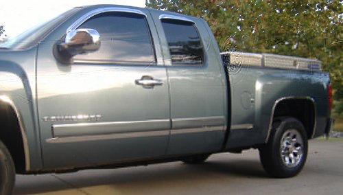 Made in USA! Compatible with 2007-2013 Chevy Silverado GMC Sierra Extended Cab 5.8' Bed Body Side Molding Trim 1.5' Wide 4PC