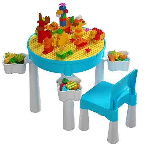 burgkidz Kinder Tisch und Stühle Set mit Grundplatte und 130 Teiligen Großen Bausteinen, Kinderpädagogisches Spielzeug für Die Frühe Entwicklung Blaue Aktivität Runder Schreibtisch für 2-Jährige