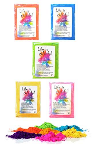 5 x h2i Holi Color Powder Holi Farb Pulver 5 leuchtende Farben x 70g - 350g