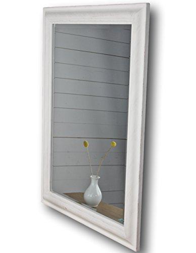elbmöbel 82 x 62cm Wandspiegel rechteckig weiß antik Patina Spiegel schlicht