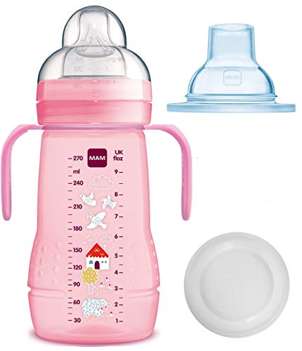MAM Trinklernflasche Hold Me Baby Bottle 270 ml mit Sauger & Trinkschabel & Griff für Mädchen