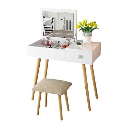Toaletka Biurko do makijażu Wielofunkcyjny stół, zestaw do ubierania, Ukryte lustrzane przechowywanie i stołek do makijażu pościec 80cm (biały) Meble komodowe