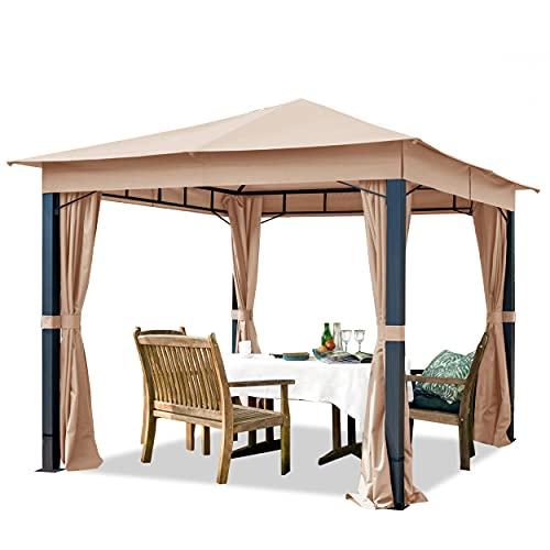 TOOLPORT Pavillon de Jardin 3x3m ALU Premium env. 220 g/m² bâche imperméable pavillon 4 côtés Tente de Jardin Taupe Clair env. 9x9cm Profil