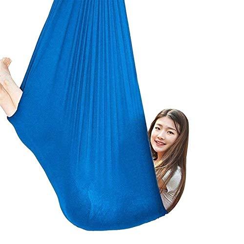WCX Hamaca Exteriores Adultos Y Niños Portátil Swing Terapia para Niños De Más De 3 Años Hamaca De Yoga Aérea (Color : Blue, Size : 1.5 M)