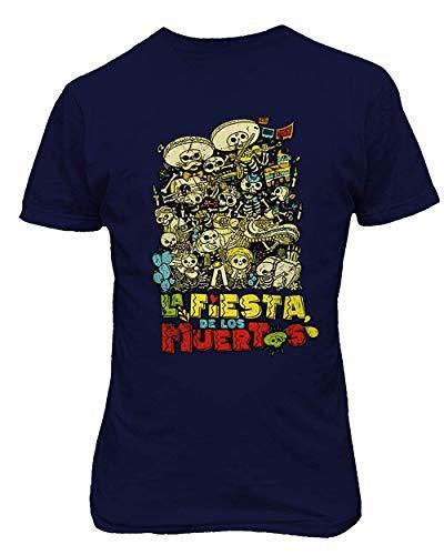 Sunyuer Camiseta gráfica Day of The Dead para Hombre La Fiesta Los Muertos Halloween Funny Print