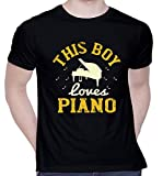 CreativiT Graphic Printed T-Shirt for Unisex This boy Loves Piano Tshirt | Casual Half Sleeve Round Neck T-Shirt | 100% Cotton | D00443-1670_Black_Medium