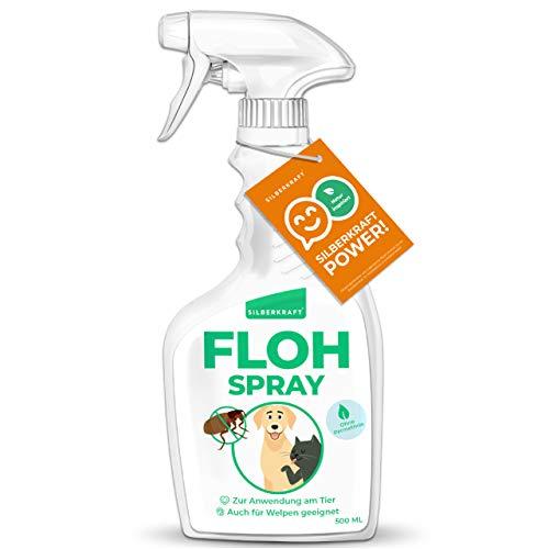 Silberkraft Flohmittel, Floh-Spray 500 ml - Flohspray für Hund, Katze und andere Haustiere - Umgebungsspray - ideales Anti-Floh-Mittel gegen Flöhe, Zecken, Parasiten, Ungeziefer