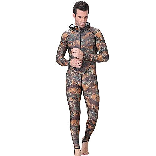 XMSIA Traje de Buceo Corporal para Hombres Un Traje de baño de una Pieza, Deportes acuáticos, Traje Mojado, Hombres. para Hacer Surf,Nadar,Bucear (Color : Camouflage, Size : L)