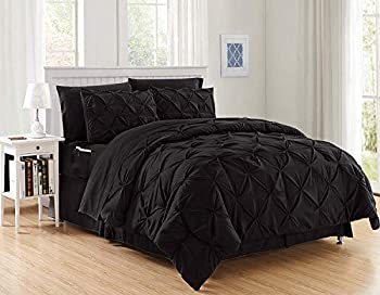 Elegant Comfort Luxury Best Softest Coziest 8-Piece Bed-in-a-Bag Comforter Set on Amazon Silky Soft Complete Set Includes Bed Sheet Set with Double Sided Storage Pockets Full/Queen Black
