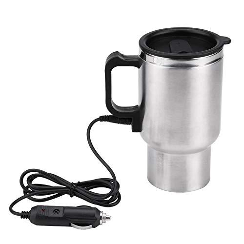 450 ml Elektroauto-Heizbecher Doppelschicht-Vakuum-Elektro-Reise-Heizbecher Sicher Bequemer elektrischer beheizter Kaffeebecher mit Edelstahl-PP in Lebensmittelqualität zum Erhitzen von Wasser