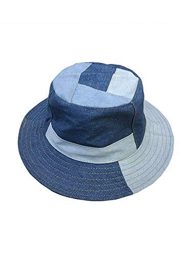 N/AA Sombrero de pescador de tela vaquera para adultos, plegable, color azul