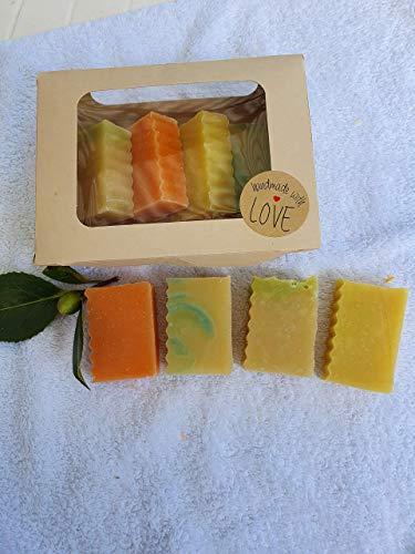 Haarseife 4 er Set Rosskastanie, Kamille-Zitrone,Birke, Lindenblüte Haarseife, mit Rizinusöl für leichte Kämmbarkeit